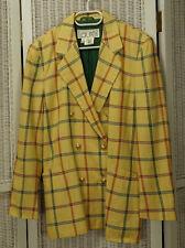 LAURÈL Yellow Check Blazer M Double-Breasted Linen Silk Jacket Laurel by Escada