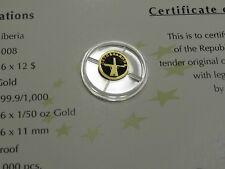 NETHERLANDS WINDMILL 2008 LIBERIA $12 MINI .62 GRAM 999 GOLD COIN RARE SHARP