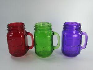 3 Mason Jar Glasses Purple Green Red w/ Handle Mugs 30734