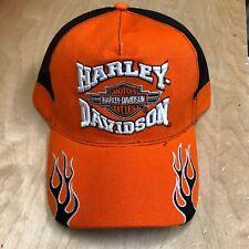 HARLEY DAVIDSON ORANGE FLAME BAR SHIELD  HAT