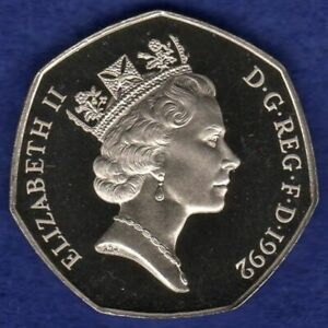 Great Britain, 1992 Proof 50p, 50 Pence Coin, Britannia, Large (Ref. t4134)