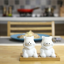 Ceramic Salt and Pepper Shakers Set In Charming Piggy Shape with Bamboo Tray