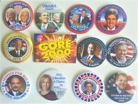12 Campaign Buttons Trump Obama Romney Biden Kerry Gore more (Set Six)