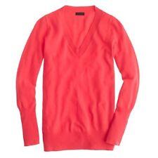 J Crew Collection Cashmere V-Neck Sweater neon watermelon Sz M Style 29660