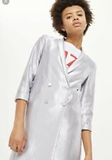 Topshop Ladies Satin Double Breasted Jacket Silver Blazer Button 6