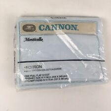 VTG New Sealed Cannon Double Full Flat Bed Sheet 50 50 NOS Light Baby Blue