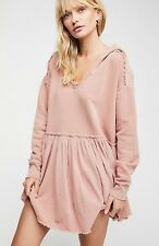 FREE PEOPLE SUMMER DREAMS OVERSIZED PULLOVER HOODIE ROSE PINK S SMALL NWT $128