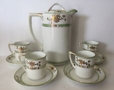 Vintage Japanese Nippon CHOCOLATE POT with 4 DEMITASSE CUPS and 4 SAUCERS.