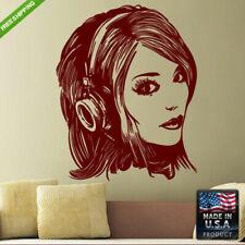 Wall Vinyl Decal Mural Sticker Girl Headphones Music Bedroom decor art (Z122)