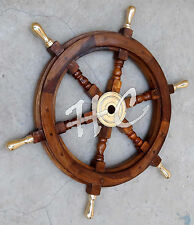 "Maritime Boat Ships Captains Nautical Beach Ship Wheel 24"" Wooden Steering Wheel"