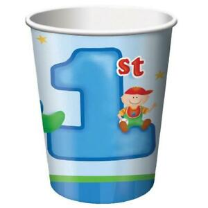 Fun at One Boy Blue Cute Kids First 1st Birthday Party 9 oz. Paper Cups