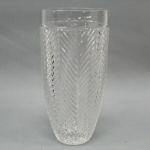 "Ralph Lauren Crystal Herringbone Vase 9"" H x 4 3/8"" W"