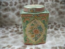 New listing Vtg Daher Floral Design Tin Container England Floral Round