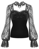 Dark In Love Womens Gothic Cross Top Black Velvet Lace Steampunk Victorian Witch