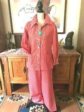 Mr.Fine Women'S Size Small 1960s/70s Mod Orange Pin Stripe Big Collar Pantsuit