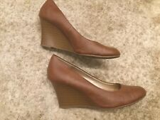 Womens Shoes, Size 12M,   Brown Faux Leather Stacked Wedge Heel EUC