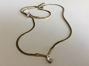 S.P. Avon Matching Gold Tone Rhinestone Necklace Bracelet Set