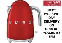 SMEG KLF03RDUK Red Electric Kettle Cordless 1.7L Retro 50's - 2 Year Guarantee