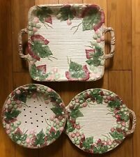 Fitz and Floyd fruits and leafs-3 Pieces Serving Plates-vintage-flawless Cond.