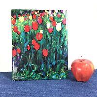 8x10 Decorative Wall Art Ceramic Tile Fine Art Artist Michele Kennedy RED TULIPS