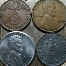 German/American WW2 pennies, 1938-1945, Germany/USA coins-KM89,KM97,KM132,KM132a