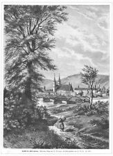 Corvey, Kloster, Schloss, Original-Holzstich von H. Nislevon 1881