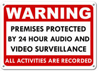 Warning These Premises Under 24 Hour Video Surveillance Security cctv Red Sign