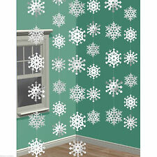 6 Festive Frozen Christmas Snowflake white 7ft String Party Decorations