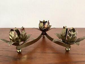 Vintage Gilt Toleware Table Candle Holder