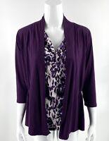August Silk Top Sz S Purple Faux Layered Leopard Print Cowl Neck Blouse Womens