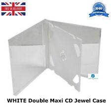 100 x CD DOPPIO Maxi GIOIELLO Casi di ricambio 10.4mm dorso bianco vassoio per 2 CD NUOVO