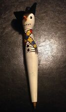 Vintage Wooden Christmas Snowman Pen Hand Carved And Painted?