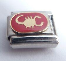 SCORPIO Italian Charm - Red Zodiac Symbol Scorpion fits 9mm Starter Bracelets