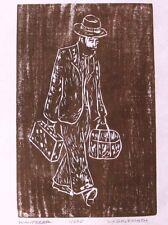 Wanderer Original Woodcut Limited Edition 11/250 Judaica Block Print by Artist