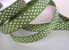"25 yards Grosgrain Ribbon 3/8"" Polka Dot/Roll/Craft/Supply R14-Green *FREE SHIP"