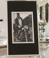 NEW RALPH LAUREN CHAIRMAN 4X6 PICTURE FRAME/BLACK CROC LEATHER & SILVER