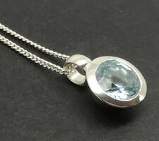 Real blue topaz small round pendant, Solid Sterling Silver, New, 8mm. UK.