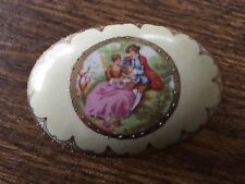 """2 Lefton trinket keepsakes jewelry boxes,footed, bisque,3"""" circle,4x2"""" oval"""