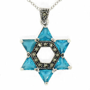 "Marcasite Sterling Silver 18"" Trillion Blue Topaz Star of David Pendant Necklace"