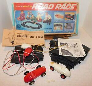 Vintage 1962 Eldon Handicap Road Race Slot Car Set with original Box