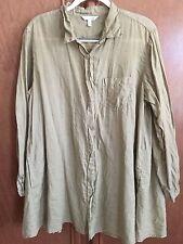 KLEEN CLOTHING womens A-Line Tunic Blouse Tissue Linen 2 pocket Lt yellw Size XL