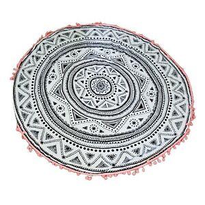 "Mandala Star Round Beach Towel 52"" Diameter Black & White Lokki Pattern Fringe"