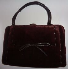 True vintage Graziella genuine leather and velvet brown handbag (see description