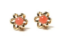 9ct Gold Small Coral Daisy Flower Stud Earrings Made in UK Gift Boxed Studs