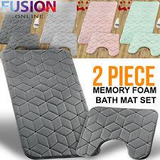 Bath Mat Pedestal Memory Foam Set Non Slip Bathroom Mats Ultra Soft Toilet Rugs