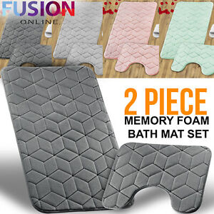 Bath Mat Pedestal Memory Foam Set Non Slip Bathroom Mats Ultra Soft Toilet Rugs