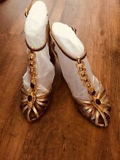 Roberto Cavalli Metallic Leather Sandals With Embellishment Size 38