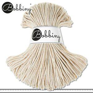 Bobbiny 100 m Flechtkordel 3 mm | Golden Natural | Basteln Baumwolle PREMIUM