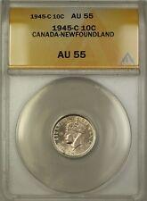 1945-C Canada-Newfoundland 10c Ten Cents Silver Coin ANACS AU-55