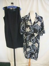Ladies Outfit Debenhams UK 18 little black dress & floral shirt, polyester 2216